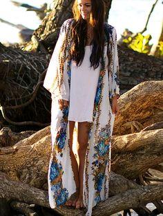 NOMADS Silver Grey Batwing Boho Summer Beach Kaftan Kimono Cover-Up Tunic Top