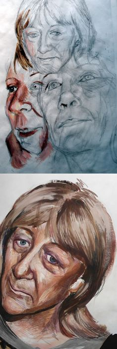 portraiture development for A Level Art - Sophie Cahill from St Bede's Catholic School and Byron Sixth Form College