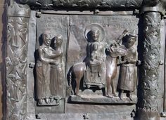 The visit of the Virgin Mary to St. Elizabeth and the flight into Egypt - bronze doors of Novgorod Cathedral (1156)