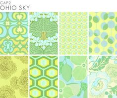 Amy Butler Ohio Sky prints from her Midwest Modern collection.  Can't wait to try my hand at a spring A-line skirt in one of these!