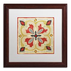 'Bohemian Rooster Tile Square III' by Daphne Brissonnet Framed Painting Print