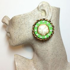 Auth Chanel Leather Weave and Gripoix Pearl Green Vintage Statement Earrings Chanel Earrings, Fashion Earrings, Statement Earrings, Vintage Pearls, Vintage Chanel, Chanel Designer, Leather Weaving, Designer Earrings, Fashion Watches