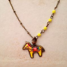 Boho Oriental Ethnic Colorful Tribal Carousel  Horse Print Charm Yellow Glass Beads Beaded Antique Brass Collar Statement Necklace (127.00 ILS) by XenaStyle