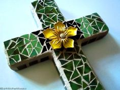 CIJ Sale Mosaic Cross Stained Glass Green by earthmothermosaics, $30.00 #cij #christmasinjuly #etsysale