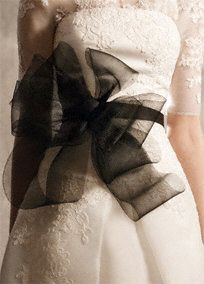 """Horsehair sash with bow.   120"""" sash with beautiful multi-dimensional bow.  Voluminous horsehair sash adds dramatic detail to your gown.  Ebony and Ivory available in stores and online."""