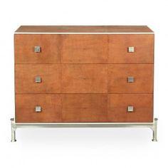 Tan Shagreen Dresser - Brown - Stainless | Sarreid 40132