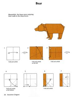 my chaos stems from my inability to sit still: Flower and bear origami patterns Más Origami Design, Diy Origami, Bear Origami, Dollar Origami, Origami Folding, Paper Crafts Origami, Useful Origami, Origami Tutorial, Origami Stars