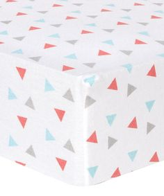 Loving this Coral Triangles Flannel Fitted Crib Sheet on #zulily! #zulilyfinds