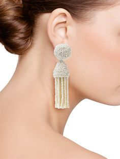 SHORT TASSEL EARRING - Oscar de la Renta Jewelry - Designer Fashion Jewelry by Oscar De La Renta - Oscar de la Renta