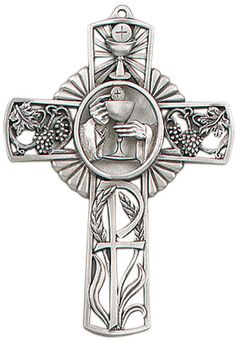 Jeweled Cross Religious Bethany Crosses Chalice First Holy Communion Antique Pewter Wall Cross Measures: Material: Pewter Made in USA Première Communion, First Holy Communion, Catholic Gifts, Catholic Art, Celtic Designs, Cross Designs, Praying Hands With Rosary, Christian Symbols, Holy Cross
