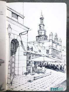 Drawing architecture pencil art Ideas for 2019 Sketches Of People, Drawing People, Architecture Sketchbook, Architecture Art, Animal Drawings, Art Drawings, City Sketch, Building Illustration, Fine Art Drawing