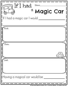 Teach Your Child to Read - First Grade Narrative Writing Prompt - If I had a Magic Car - Give Your Child a Head Start, and.Pave the Way for a Bright, Successful Future. First Grade Writing Prompts, Narrative Writing Prompts, Persuasive Writing, Writing Lessons, Kids Writing, Teaching Writing, Creative Writing, Paragraph Writing, Writing Workshop