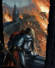 f Fighter Plate Armor Cloak Sword Castle under attack fires Fantasy Books, Fantasy Artwork, Fantasy World, Fantasy Characters, Fantasy Inspiration, Story Inspiration, Character Inspiration, Character Art, Storyboard