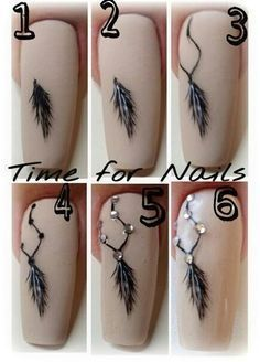 Dreamcatcher Nageldekoration Step by Step Tutorials 2017 - Nail Art - Gorgeous Nails, Love Nails, Pretty Nails, Diy Nails, Manicure, Feather Nails, Nagel Gel, Nail Art Galleries, Creative Nails