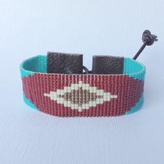 Southwestern geometric loom beaded cuff