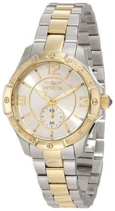 Invicta Women's 10222 Angel Diamond Accented Silver Dial Two Tone Stainless Steel Watch ** Check out the watch by visiting the link.