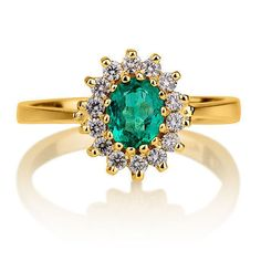 Emerald Engagement Ring, Solitaire with Accents, 14K Yellow Gold, Diamond Gold Ring