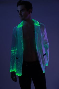Fiber Optic Suit Jacket: Color changing lights with by NeonNancy #fiberopticfabric #neoncloth