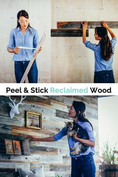 Create your own reclaimed wood wall with peel and stick panels.