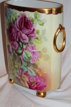 HUGE William Guerin Limoges Hand Painted Cachepot Vase ~ Breathtaking HAND PAINTED ROSES ~ Full Stunning Still Life Painting on Porcelain on Both Sides~ Magnificent Piece of Fine Art ~ Collector's DREAM!!!