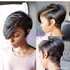 20 popular bob hairstyles for black woman – My hair and beauty Short Curly Hair Black, Short Hair Cuts, Pixie Cuts, Long Hair, Thick Hair, Wavy Hair, Short Afro, Long Bangs, Wigs With Bangs