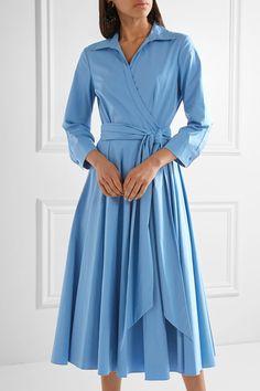 Michael Kors Collection - Cotton-blend Poplin Wrap Midi Dress - Blue