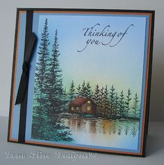 """By Christy. Main image is Stampscapes """"Lakeside Cove."""" She stamped; then she airbrushed the image with Copic markers."""