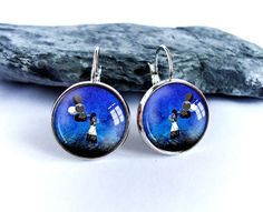 Girl with balloons dangle earrings navy blue picture by BakGuri