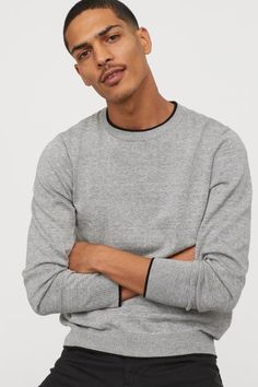 Heless Men Printed Knit Crew Neck Color Block Casual Pullover Sweaters Jumper