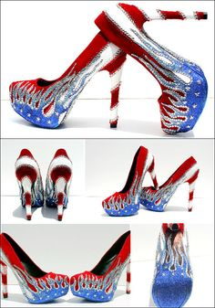Patriotic American Flag 4th of July Heels with by WickedAddiction