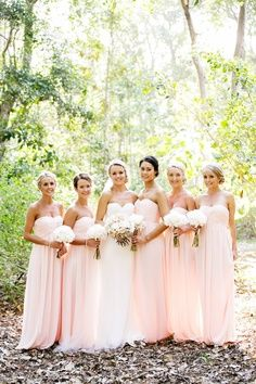 Bridesmaids dresses. Love the pale pink for a springtime wedding