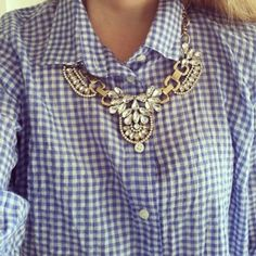 gingham shirt and statement necklace