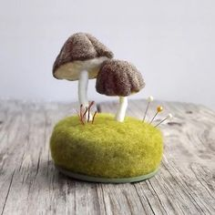 "* ""Pincushion Mushrooms in Heather Brown Nature Scene Desk Home Decor Wool Sculpture Made To Order"""