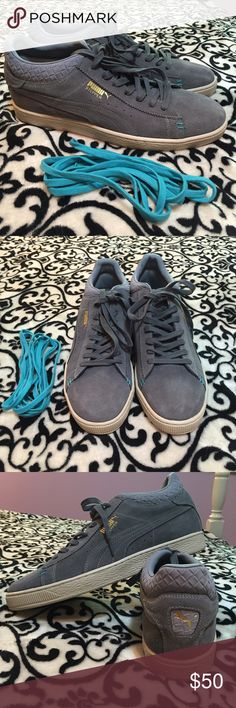 """NWOT men's Puma sneakers NEW, never worn gray Men's PUMA """"stepper"""" sneakers. Size 13. No box. Comes with extra blue laces. Retail $70. Can do cheaper on merc Puma Shoes Sneakers"""