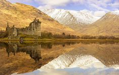 Kilchurn Castle & Knoydart Mountains reflecting during the afternoon at Loch Awe in Argyll