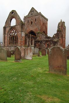 Sweetheart Abbey Ruins in Dumfries, Scotland was a Cistercian Monastery built in 1275 Scotland Top, Scotland Castles, England And Scotland, Scotland Travel, Galloway Scotland, Abandoned Buildings, Old Buildings, Abandoned Places, Old Cemeteries