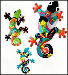 3 Hand Painted Metal Gecko Wall Hangings  - - Tropical Decorating – Painted Metal Tropical Decor – Hand Painted Metal – Haitian Steel Drum Metal Art – Tropical Design – Metal Wall Decor – Caribbean Art – Outdoor Garden Decor -  www.HaitiGallery.com