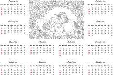 Kalender 2016  extra Malseite für Erwachsene von Fleurdoodles