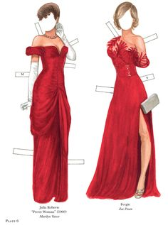 Welcome to Dover Publications Julia Roberts & Fergie Lady in Red Series in designer clothing.