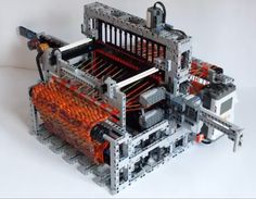 LEGO Mindstorms NXT - fully automatic loom machine My LEGO Loom Machine has been selected by LUGPol as the best LEGO creation in The machine was presen. Lego Mindstorms, Lego Technic, Loom Weaving, Hand Weaving, Loom Machine, Weaving Machine, Knitting Machine, Lego Machines, Lego Boards