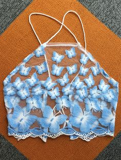 Butterfly Embroidery High Neck Crop Top
