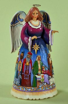 The Night When Christ Was Born - Angel with Nativity Scene Figurine
