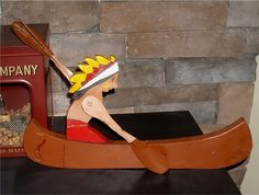 Vintage Whirlygig Indian In Canoe