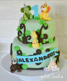 Safari birthday party cake