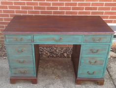Solid wood antique desk by UniquelyYouFurniture on Etsy, $130.00