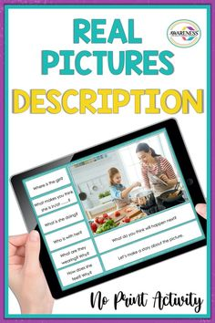 Picture Description is a No print activity that includes 25-photo set to target various language skills. The photos targets many of your students language goals: Wh-questions, Vocabulary, Pronouns, Verbs, Expanding Sentences, Inferences, Predictions, Feelings, and Making a Story. Using the real photo will make it suitable for various age-groups. Perfect for Teletherapy and Distance Learning. #NoPrintSpeechTherapy #PictureDescriptionSpeechTherapy #Teletherapy