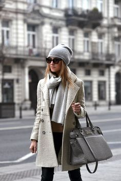 Fall/ winter outfit ideas. off-white long coat. Grey beannie/ scarf. Black pants.