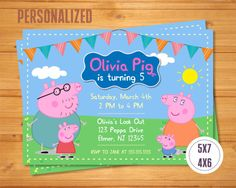 PEPPA PIG INVITATION Peppa Pig Birthday by TomasinaPartyDesign