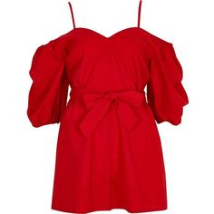 River Island Red puff sleeve tie waist romper ($80) ❤ liked on Polyvore featuring jumpsuits, rompers, red, rompers/ jumpsuits, women, red romper jumpsuit, tall romper, red jump suit, jump suit and red romper