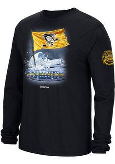 Reebok Pitt Penguins Mens Black Flag in Ice Tee Pittsburgh Penguins  Stadium 1f82fbdb7